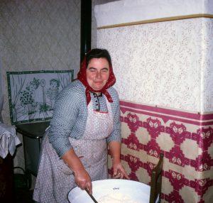 Kati Martin mixing up bread dough