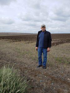 Ed standing in fields once farmed by Oskar & Georg