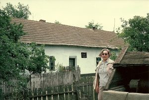 Hilde in front of Eduard Heim home in Fachria