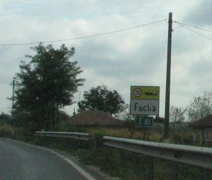 Sign on highway for Fachria, Romania
