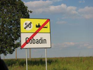 Street sign for Cobadin, Romania