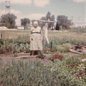 Wilhelmina in front of her garden